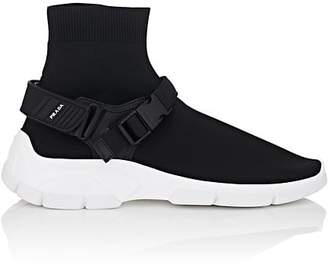 Prada Men's Harness-Strap Knit Sock Sneakers