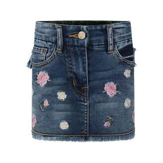 MonnaLisa MonnalisaBlue Denim Embroidered Flower Skirt