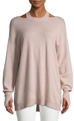 Halston Cashmere Cutout Long-Sleeve Sweater