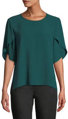 Eileen Fisher Tulip-Sleeve Silk Georgette Top