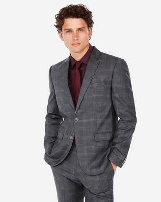 Express Slim Plaid Luxury 100% Italian Wool Suit Jacket