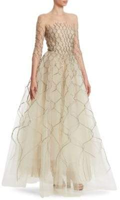 Oscar de la Renta Metallic-Embroidered Illusion Gown