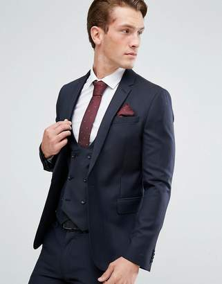 Asos Skinny Suit Jacket In Navy 100% Wool