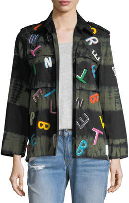 Neiman Marcus Libertine Tie-Dye Army Jacket with Letter Embroidery