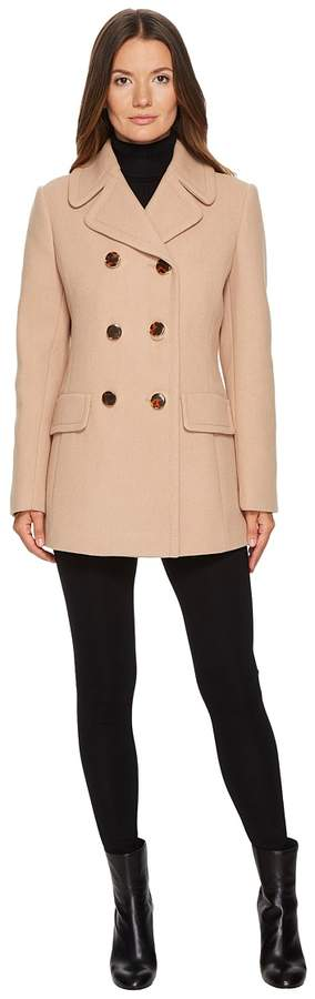 Kate Spade New York - Wool Twill Double-Breasted Bow Back Peacoat Women's Coat