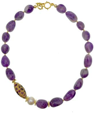 Farra Amethyst With Freshwater Pearl & Rhinestone Short Necklace