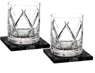 Waterford Olann Set of 2 Lead Crystal Double Old Fashioned Glasses with Coasters