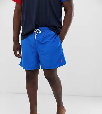 Big & Tall Traveler player logo swim shorts in blue