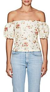 Brock Collection Women's Boie Floral Silk Off-The-Shoulder Blouse - Beige, Tan