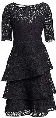 Teri Jon by Rickie Freeman by Rickie Freeman Women's Lace Tiered Ruffle Dress