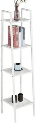 "Estink Storage Shelf 4 Tiers Shelf Unit Bookshelf Bookcase Book Storage Display Rack Leaning Ladder Wall Stand Wire Shelving White 13.8"" x 13.8"" x 58.3"""