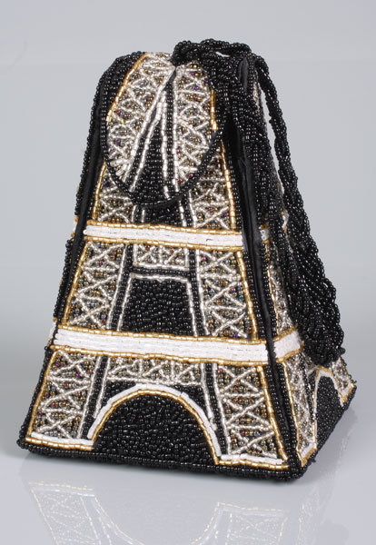 Beaded Eifel Tower Handbags in Black/Gold