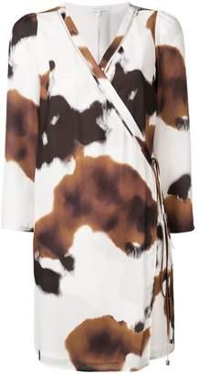 Patrizia Pepe cow-print wrap dress