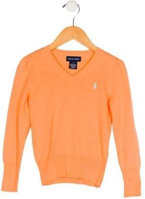 Ralph Lauren Girls' V-Neck Logo Sweater