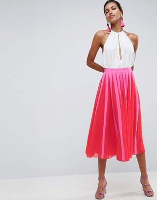 Asos DESIGN Pleated Midi Skirt with Color Block Stripe