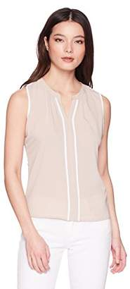 Calvin Klein Women's Petite Sleeveless Piped Top