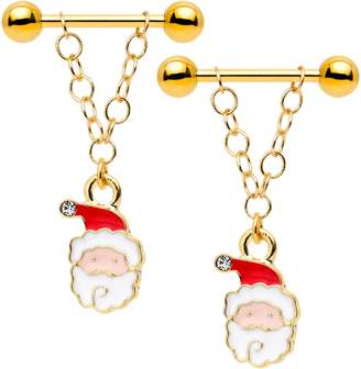 Body Candy Handcrafted Anodized Steel Clear Accent Jolly Santa Dangle Nipple Ring Set 14 Gauge 5/8""