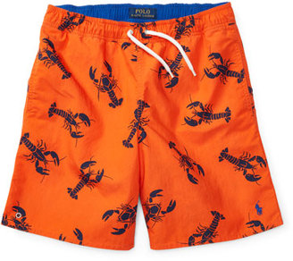Ralph Lauren Childrenswear Drawstring Lobster Board Shorts, Red, Size 5-7 $55 thestylecure.com