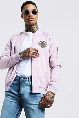 boohoo Bomber Jacket With Front & Back Embroidery
