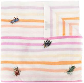 Janavi butterfly and beetle embroidered scarf
