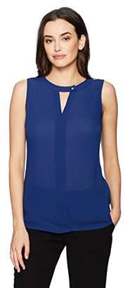 Chaus Women's Sleeveless Bar Neck Textured Blouse