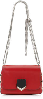 Jimmy Choo LOCKETT PETITE Red Spazzolato Leather Shoulder Bag