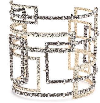 Alexis Bittar Crystal Encrusted Brutalist Cuff Bracelet