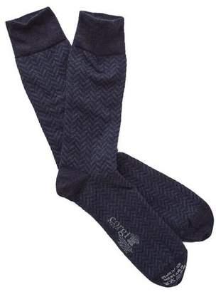Corgi Herringbone Socks in Navy