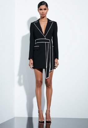 Missguided Black Contrast Binding Blazer Dress, Black