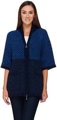 Aran Craft Wool Elbow Sleeve Zip Front Cardigan