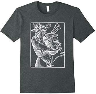 Devil Playing Bagpipes T-Shirt (White Line Version)