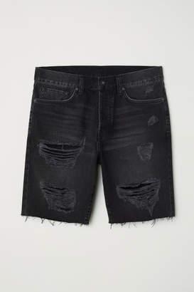 H&M Straight Fit Denim Shorts - Black