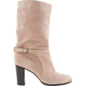 Sergio Rossi Pink Suede Ankle boots