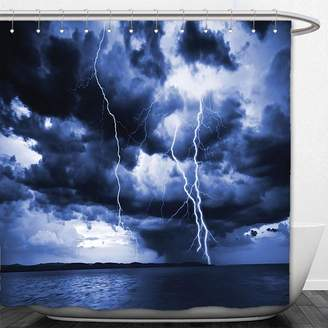 Beshowere Shower Curtain Lake House Decor Majestic Sky View with Huge Rain CloudAll over the Sea and Vibrant Storm RayDecorative Bedroom Living Room Dorm Decor Blue.jpg