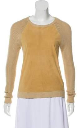 Ralph Lauren Silk Leather-Accented Sweater