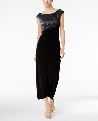 Connected Metallic Crinkle Faux-Wrap Gown $89 thestylecure.com