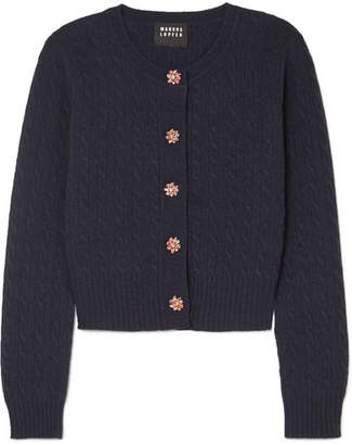 Markus Lupfer Harper Crystal-embellished Cable-knit Wool Cardigan - Navy