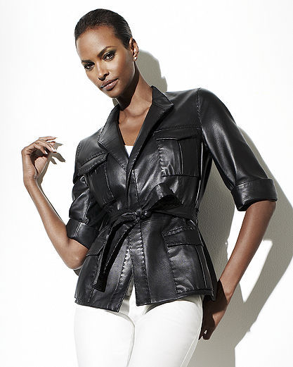 Pink Label Leather Waist-Sculpting Jacket by Shape fx®