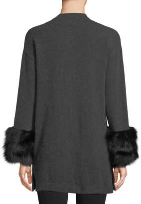 Neiman Marcus Cashmere Open-Front Cardigan w/ Fox Fur Cuffs