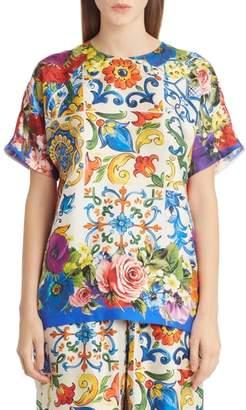 Dolce & Gabbana Tile Print Silk Top