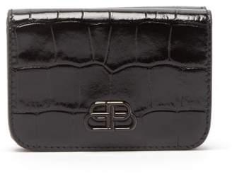 Balenciaga Bb Logo Crocodile Effect Leather Wallet - Womens - Black