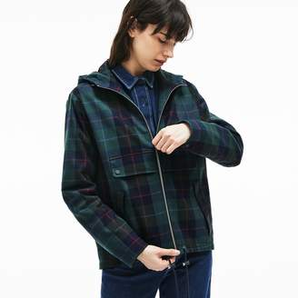 Lacoste Women's Tartan Check Print Cotton Canvas Zippered Pea Coat