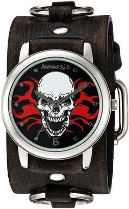 Nemesis Men's 922FRBK Flaming Skull Series Analog Display Japanese Quartz Black Watch