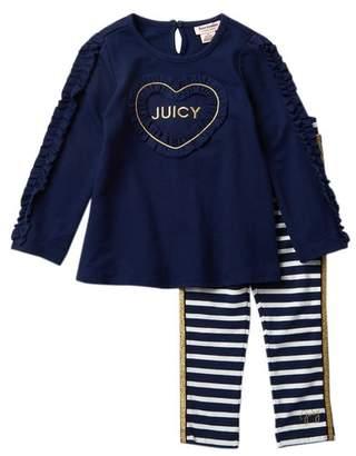 Juicy Couture Heart Ruffle Tunic & Striped Leggings Set (Toddler Girls)