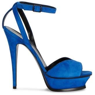 Saint Laurent Tribute Cobalt Blue Suede Sandals