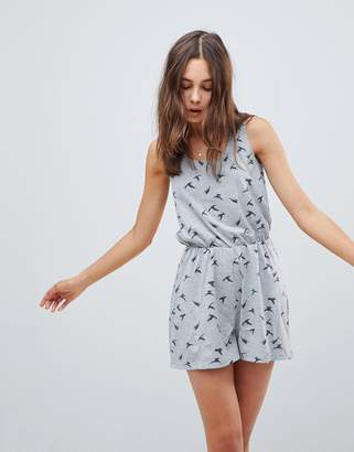 Brave Soul Swoop Romper in Bird Print