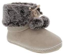 totes Faux Fur-Trimmed Bootie Slippers