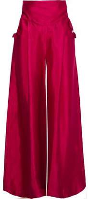 Rosie Assoulin Lace-up Linen-blend Duchesse-satin Wide-leg Pants