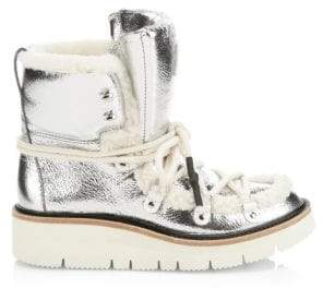 Rag & Bone Skyler Shearling-Lined Metallic Leather Hiking Boots