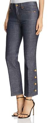 Tory Burch Alexandra Button-Hem Ankle Jeans in Resin Rinse